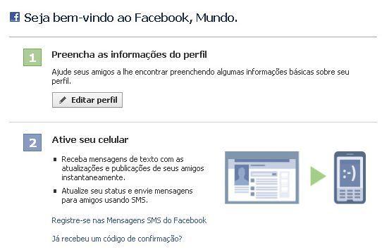 criar uma conta no Facebook