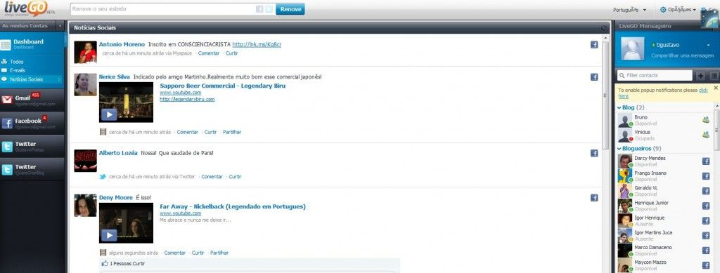 livego, web 2.0, gmail, redes sociais